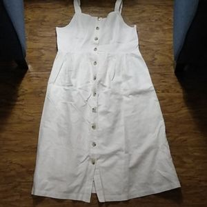 Gap maternity white dress linen cotton lined L